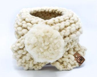 Puppy Scarf with Detachable Pom Pom | Handmade with 100% Merino Wool