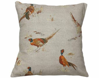 Autumn Pheasant Countryside Animal Print Cushion Cover