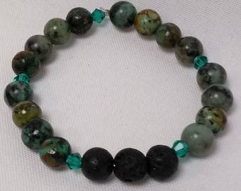 Essential Oil Diffuser Bracelet of Turquoise, Lava Rocks and Crystal Accents