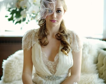 Birdcage veil, silver bridcage veil, pearl birdcage veils,  Wedding birdcage veil, crystal wedding veil with clip, pearl  birdcage