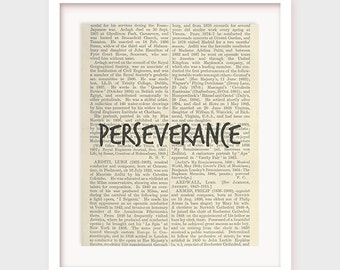 "Prints on Dictionary Paper, ""Perseverance"", Virtue Printable, Printable Art Instant Download"