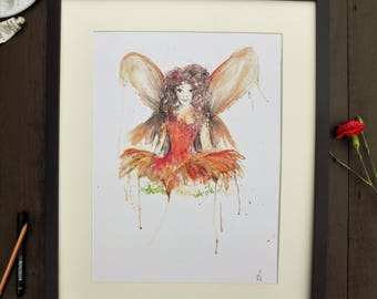 Watercolour Fairy Print A3