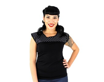 Black and White Polkadots Vintage Inspired Top