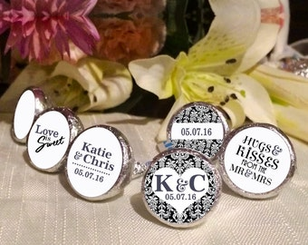 108 Hershey Kiss® Stickers - Damask Kiss Seals -Hershey® Kiss Seals  - Damask Wedding - Hugs and Kisses, Love is Sweet, Kiss Labels