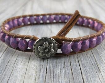 purple flower leather beaded bracelet, purple beaded leather bracelet, wrap bracelet, leather bracelet, stacking bracelet