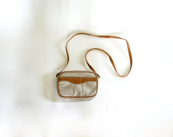 Vintage Two Tone Faux Leather Crossbody Bag