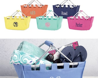 Personalized Market Totes, Embroidered Collapsible Market Basket Name or Monogram, Personalized Easter Baskets, Collapsible Shopping Baskets