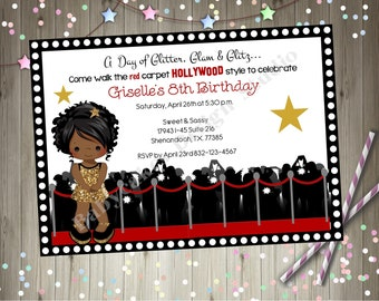 Hollywood Diva Birthday Invitation Glamour Party Dress Up Party Red carpet birthday Party printable African American CHOOSE YOUR GIRL