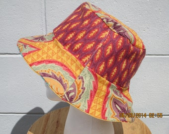 """Bucket Hat 21"""" small Reversible Yellow, Purple, Aqua, and Red  """"Roma Collection"""""""