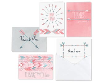 25 Thank You Cards Assorted Watercolor Arrow Note Cards, Thank You Cards Variety Set, Five Thank You Cards Of Each Design, Blank Inside