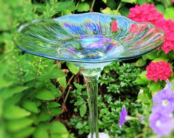 Rainbow Glass Birdbath