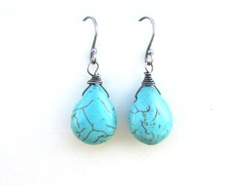 Turquoise Teardrop Dangle Earrings in Oxidized Sterling Silver