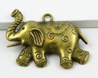 6Pcs Antique Brass elephant Charm elephant Pendant 56x40mm (PND602)