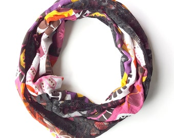 Bright, Fun Floral print Infinity Scarf with Black Lace