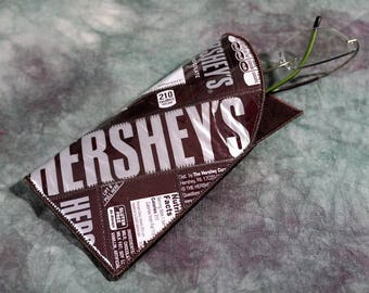 Reading Glass/Sunglass Case from Recycled Hershey's Chocolate Candy Bar Wrappers