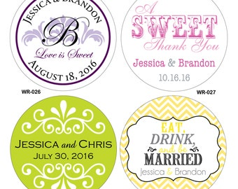 120 - 2.25 inch Personalized Glossy Wedding Stickers - hundreds of designs to choose from - change designs to any color or wording