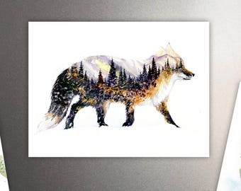 The Little Fox Art Refrigerator Magnet / Mountains & Forest Spirit Animal - Watercolor Painting