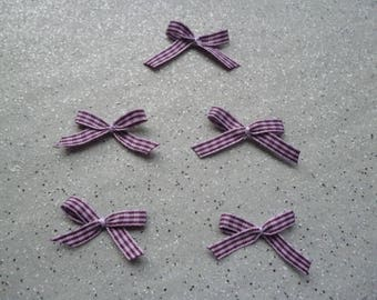 Set of 5 bows, appliques made by me purple gingham
