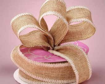 1 1/2 inch wide NATURAL / WHITE Side Stitch Burlap Ribbon select length