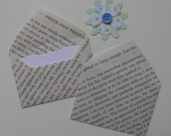 Jane  Austen mini envelopes with inserts, Book envelopes, Pride and Prejudice, Sense and Sensibility, Sets of 10, Book favors, Bujo
