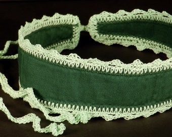 Wide Green Headband that Ties, Crocheted Trim and Ties