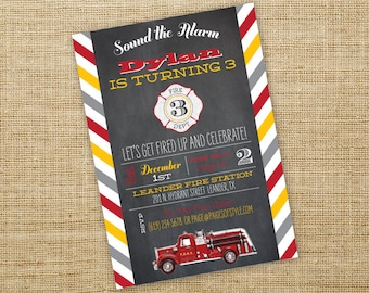 Firetruck Birthday Invitation- Printable