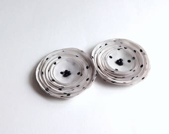 Ivory and Black Polka Dot Shoe Clips, Hair Pins / Limited Editoin