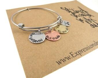 Hand Stamped She Believed She Could Bracelet - Mantra Bracelet - Handstamped Jewelry - Inspirational Jewelry - Expressions Bracelets
