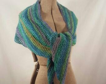 Blue Green Silk Crochet Scarf/Wrap