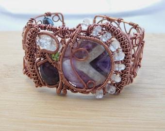 Chevron Amethyst Diamond Quartz Peridot Lepidolite Wire Wrapped Boho Cuff Bracelet Antique Copper Jewelry Handmade Renaissance Hematite OOAK