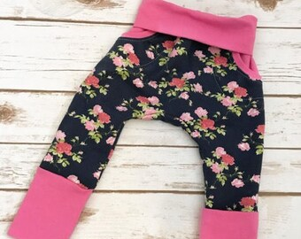 Custom Handmade Vintage Floral Grow with Me Harem Pants / Infant Pants / 3-12 months / Cloth Diaper Pants / Baby Clothing / Baby Girl Pants