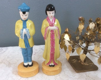 Vintage Japanese Moriyoma Figurines Pair
