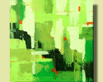 Original modern contemporary abstract painting in green orange