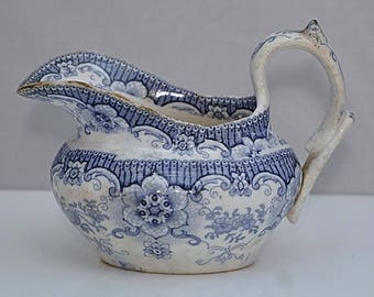 Early C19th BLUE & WHITE Transfer Printed Creamer Staffordshire or Possibly YORKSHIRE