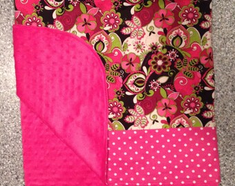 Baby Girls to Pre-Schooler Girls Minky Baby Blanket Hot Pink Minky and bright pink, Black Lime Green Floral