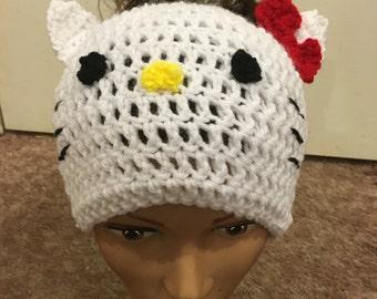 Hello kitty Messy bun beanieMessy bun beanie Ponytail beanie hello kitty messy bun hat