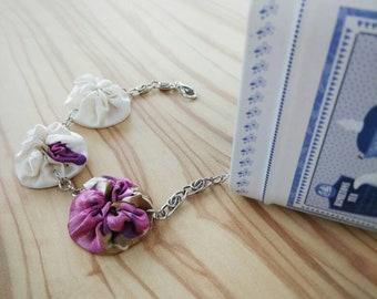 Upcycled Recycled Eco Bracelet White Purple