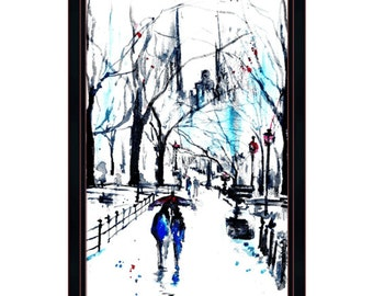 NYC Love watercolor romance red umbrella Central Park - Print from Original Watercolor Painting - Lana Moes art - Wanderlust Illustration