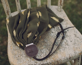 Olive Green Feathers Camera Strap