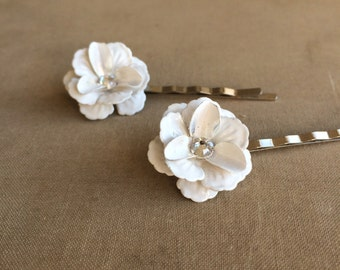 bridal hairpins 2 pc, white flower hairpin swarovski crystal, white hairpin, vintage bridal hair accessories,WHITE FLOWER CRYSTAL wholesale