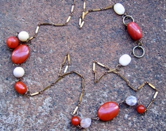Eco-Friendly Statement Necklace - Words to That Effect - Recycled Vintage Bar Chain, Brass Hoops and Beads in Terra Cotta and Off-White