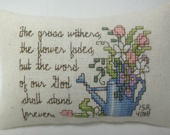 Christian Cross Stitch Mini Pillow, Bible Verse, Watering Can And Flowers