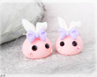 kawaii Bunny earrings pink drops and rhinestone