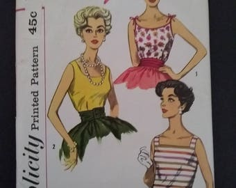 60s Simplicity vintage pattern 3021 Size 12 top blouse