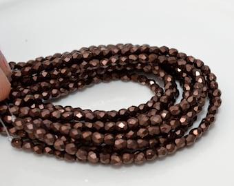 Dark Bronze 3mm Faceted Fire Polish Round Czech Glass Beads 50