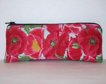 """Poppies Pipe Pouch, Pipe Case, Pipe Bag, Glass Chillum Cozy, Stoner Girl Gift, Floral Pouch, Hippie Purse, Vape Pen Case, Pouch - 7.5"""" LARGE"""