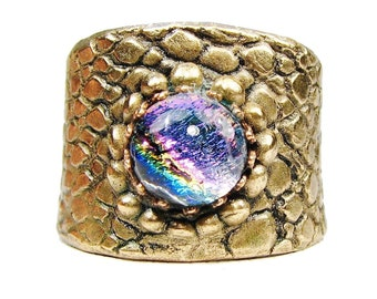 Bronze Ring with Dichroic Glass