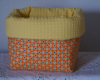 Fabric basket Organizer quilted orange and yellow polka dots