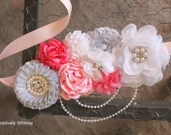 Silver Pink Maternity Sash, Girl Maternity Sash, Flower Sash, Baby Shower Sash, Belly Sash, RTS, Hot Pink, Light Pink, Pink, Silver, White