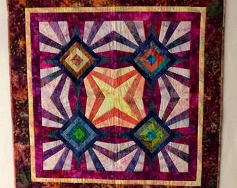 Bright batik quilted wall art